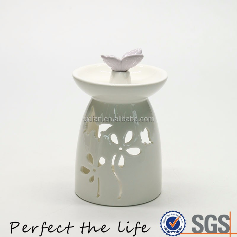 White Ceramic Fragrance Oil Burner Tart Warmer with a Butterfly
