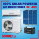 off grid 100% solar powered brushless motor wall split 9000btu dc air conditioner