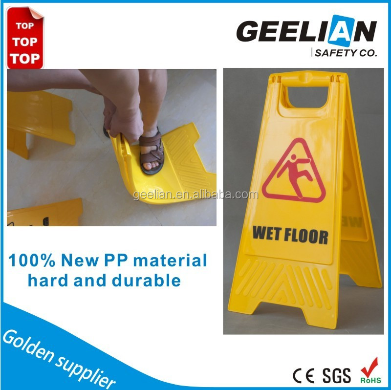 Yellow foldable caution wet floor sign, Plastic safety A shape traffic warning sign Quality Choice