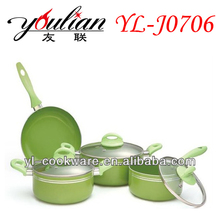 BSCI ADUIT 7PCS Aluminium Ceramic Cookware Set & Walmart Supplier with durable coating interior & low price with high quality