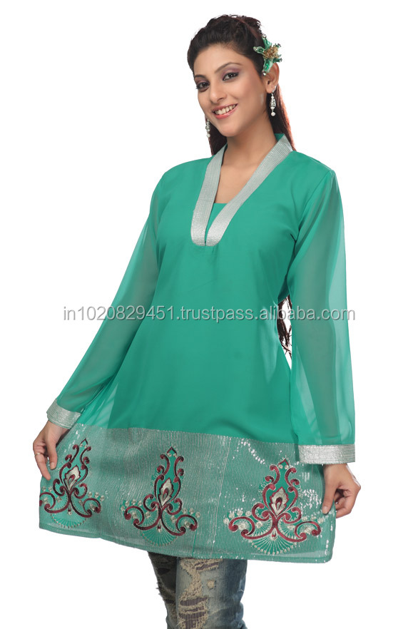 Latest Designer Party Wear Embroidered Kurti
