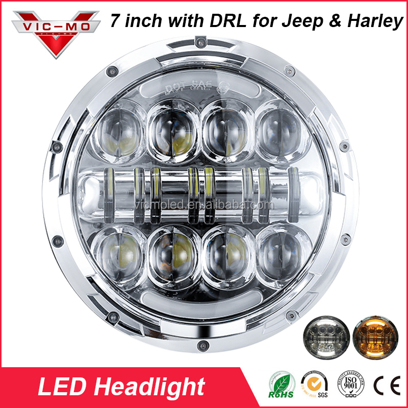 7 Inch Chrome LED Projector Daymaker Hi/Lo Beam Headlight for Harley Davidson Motorcycle