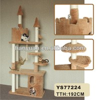 Castle shape long fur cat scratcher direct supplier