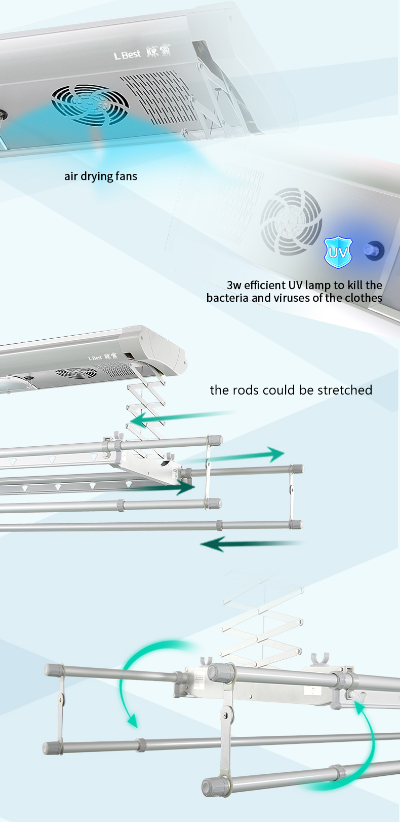 High quality ceiling mounted aluminum automatic cloth rack