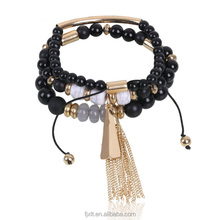 Wholesale Exotic Style Resin and Alloy Material Black Color Multilayer Beads Bangle Bracelet