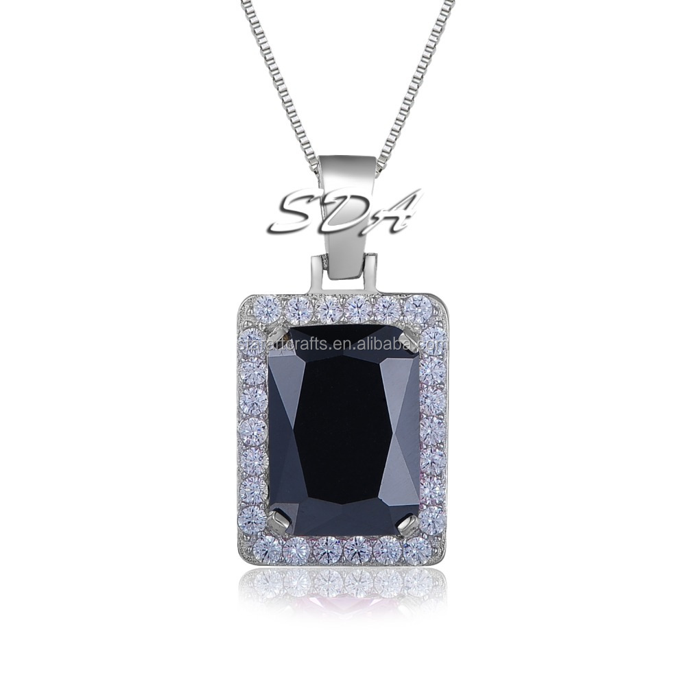 2016 New Arrived Big Size Bling Bling Iced Out Black Ruby CZ Pendant Chain 14k Gold Square Red, Black, Blue RUBY Pendant