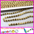 SS38 8mm raw brass rhinestone cup chain link with metallic gold crystal stones