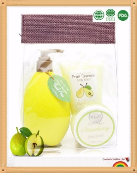 Wholesale bath and Body works products with fruit shape bottle bath gift set