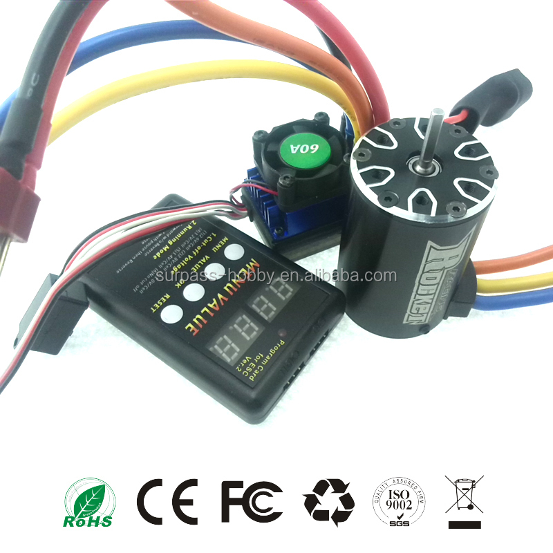 Competition RC Car 540 Max Voltage 30v Brushless dc Motor + 60A ESC + LED Program Card Combo