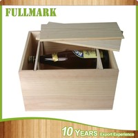 pu leather two open doors wooden wine box