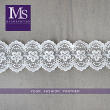 High quality fashion cotton 7cm width embroidery bridal lace wholesales