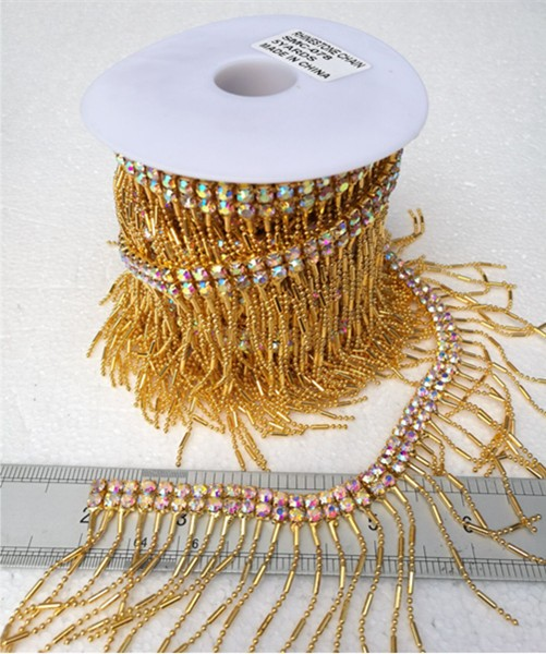Factory sales high quality crystal ab rhinestone chain trimming by yard