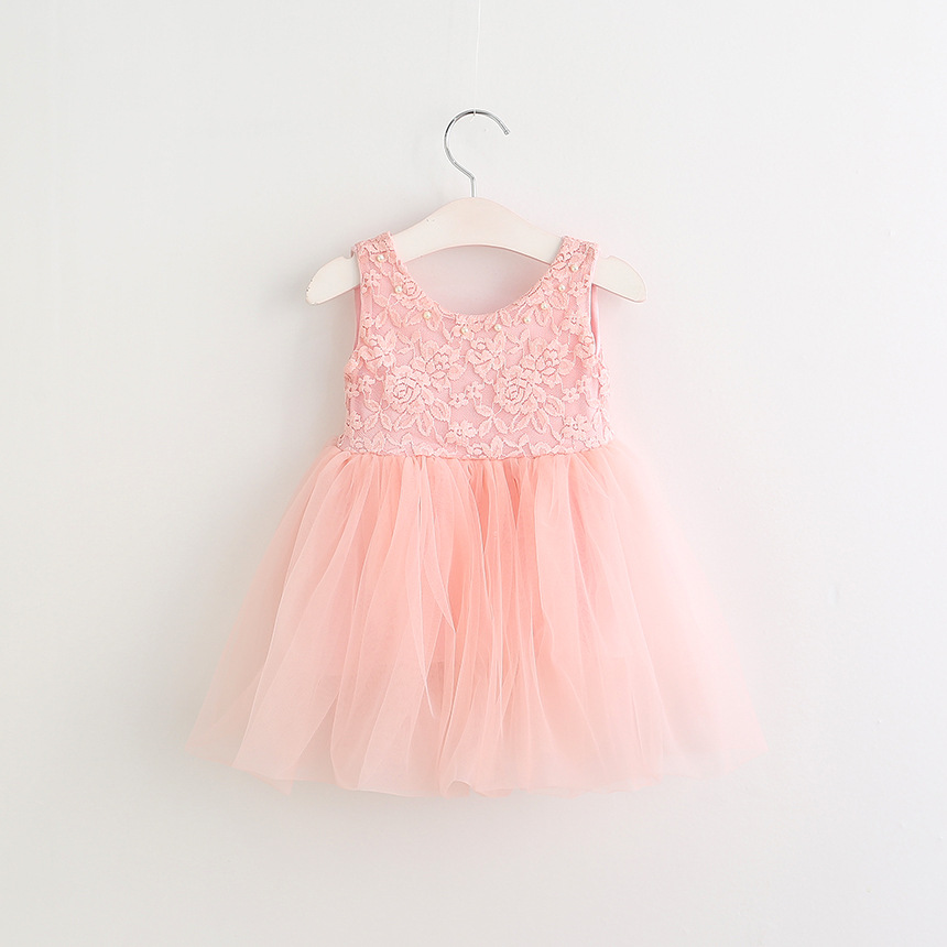 2017 boutique summer pink lace kids dress photo