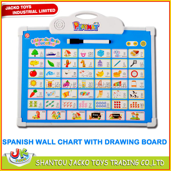 Kids education toy Spanish wall chart with drawing board