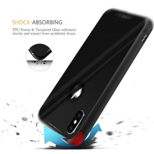 Free Sample Premium Tempered Glass Armor Case TPU+PC Back Cover for iPhone X 10 8 8 Plus Support Wireless Charging