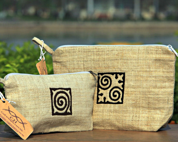 Hemp cosmetic pouch, makeup pouch, small bag made by HMong tribe in Vietnam