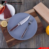 high quality casting color wood handle steak knife and fork