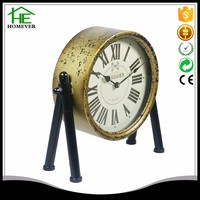 classic antique brass golden table clock electronic