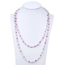 Fashion Simple Saree Colored Plastic Chain Link Pearl Necklace Set