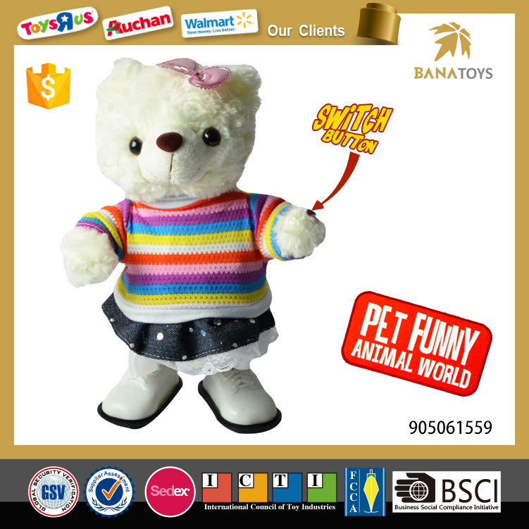 Electric musical walking bear carnival plush toys