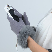 Customized rabbit fur cuff girls touch screen gloves for winter