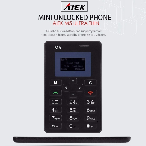 AIEK M5 Card Mobile Phone, 4.5mm Ultra Thin Pocket Mini Slim Card Phone, 1.0 inch LED Display aiek m5 card size mobile