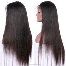 wholesale price 6A Grade 8-32 inch human hair wigs virgin chinese human hair yaki straight full lace wigs with baby hair