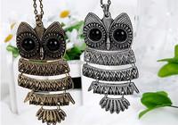 Vintage Crystal Owl Pendant Necklace