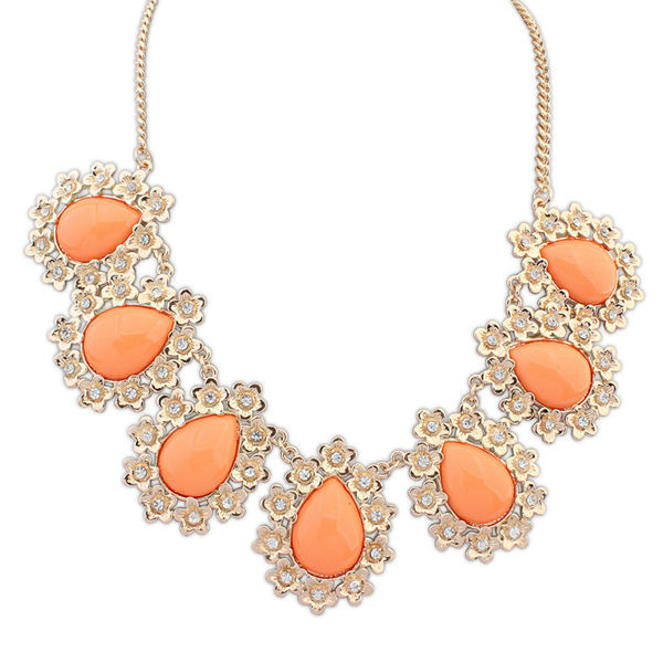 Artificial gemstone jewelry bulk bubblegum beads chunky necklace orange color resin stone drop necklace PN2586