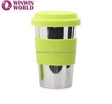 Unbreakable Funky Custom Coffee Mug With Silicone Sleeve And Lid