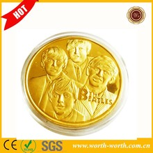 New Arrival Famous UK Rock Bank The Beatles 24k Gold Plated Coin, Gold Replica Coins For Decoration With Acrylic Capsule Box