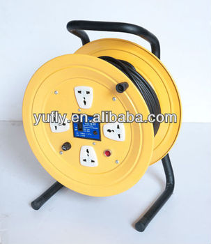 50m UK small electric socket hand hold 4Outlets 250V 16A extension cable reel cable drum