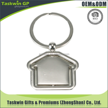 custom house shaped spinning blank metal keychain for wholesales