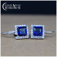 Beautiful earring design sapphire main stone 925sterling silver earring with CZ for ladies