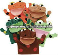 Various colours cute and funny plush big mouth frog hand puppet toy