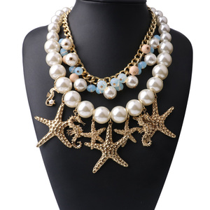 Best Design Sea Theme Chain Necklace Multitiered Starfish Pendants Earring and Necklace Sets