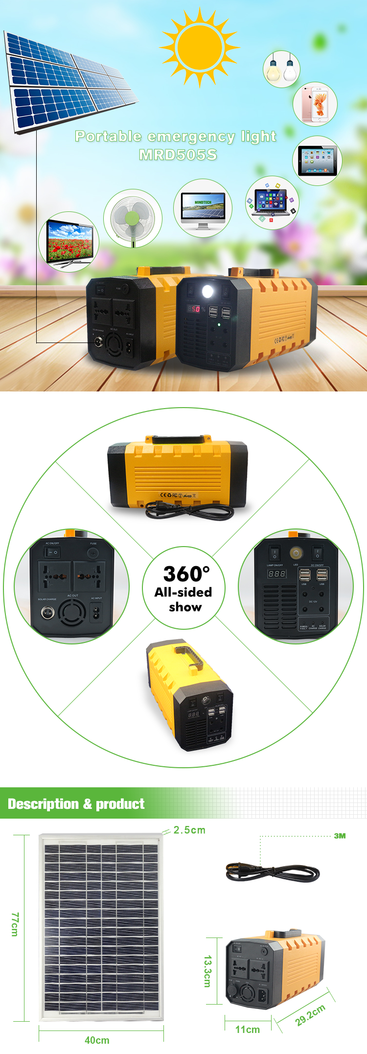 500W inverter most popular useful portable off grid solar home power system for home appliance