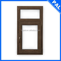 euro standard wood color casement UPVC PVC double glazed aluminium windows with grill design in America