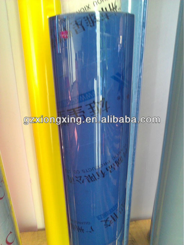good transparency beautiful blue pvc film for package and printing