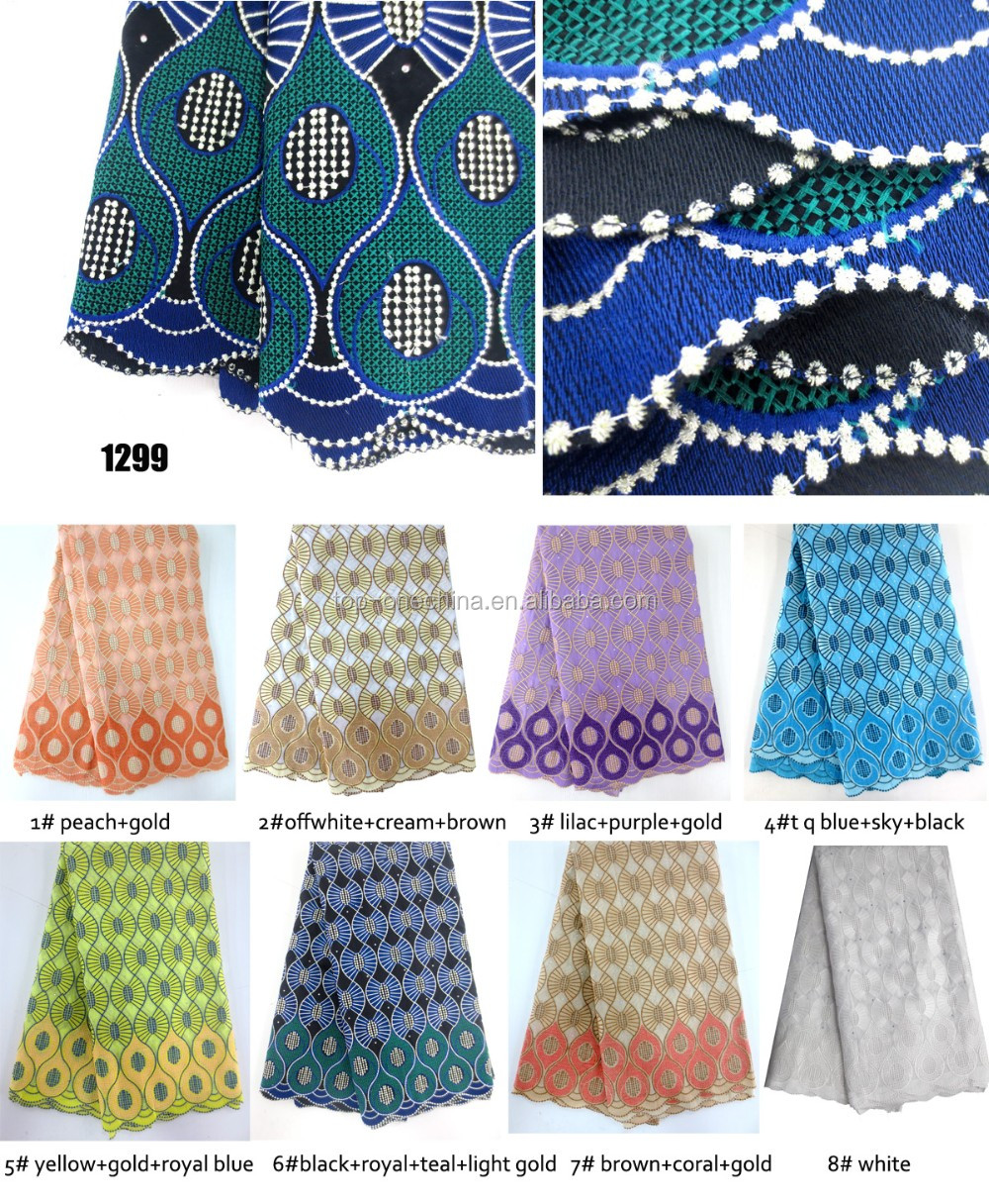 Bulk cotton embroidery nigeria lace fabric high quality