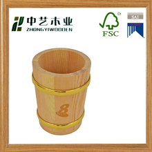 Wooden factory unfinished handmade wooden pen holder with gold ring