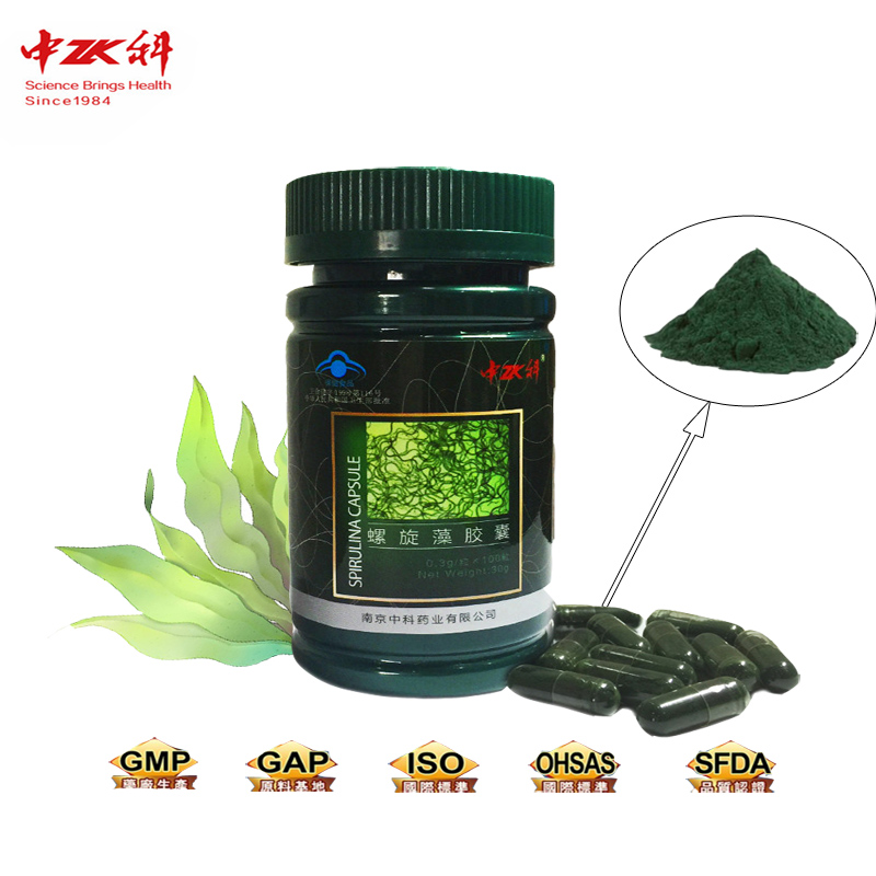 New product ZHONGKE spirulina capsule 0.3g/capsule,100grains/bottle spirulina powder organic bulk spirulina