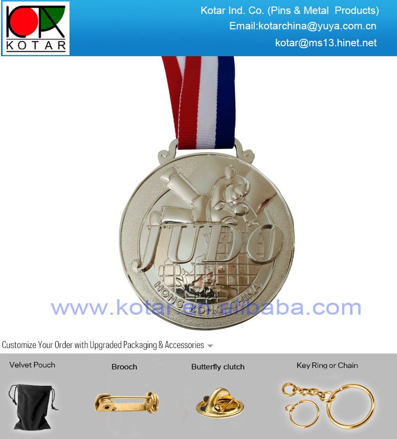 Custom shiny nickel plating big metal medal