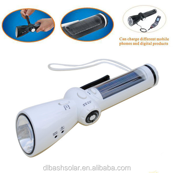 7LED Solar Powered protable Rechargeable torch with FM radio charge mobile camping flashlight