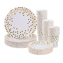 Rose Gold Dot Disposable Paper <strong>Plates</strong> and Napkins Set