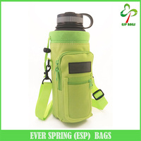 2-Way 40 oz bottle holder with front cell phone pocket, high quality protective neoprene water bottle holder for walking