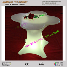 PE plastic LED flower shaped table for coffee/bar/dinning room