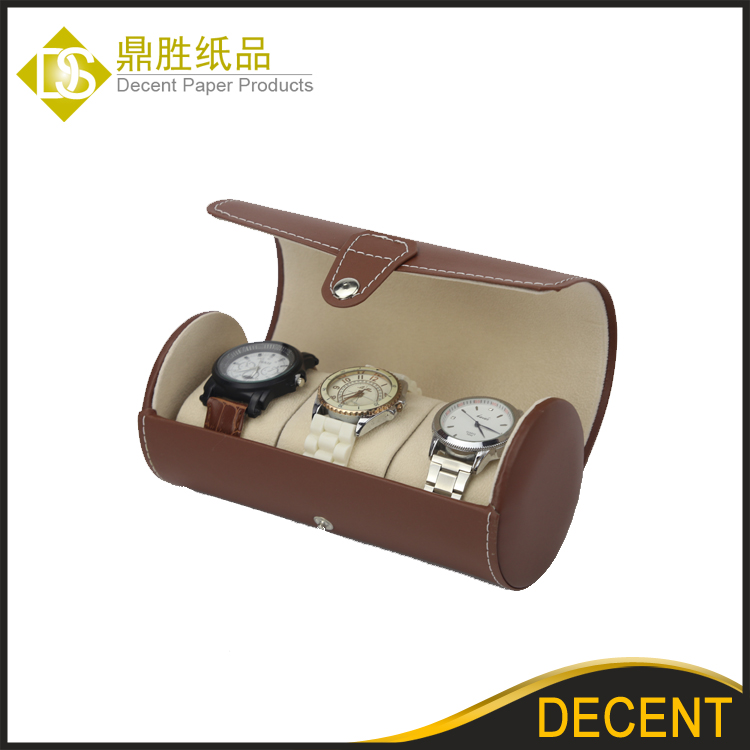YIWU DECENT Wholesale 3 Slots Brown Round PU Leather Portable Watch Travel Box Case