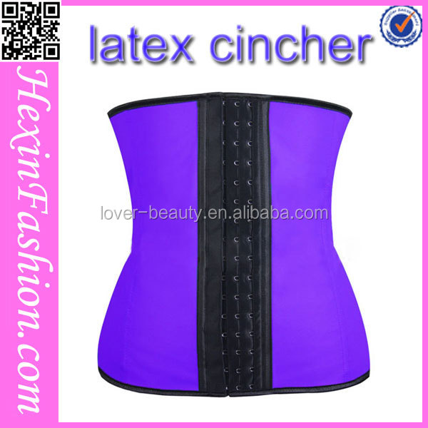 Fast delivery high quality purple latex corset cincher elastic girdle