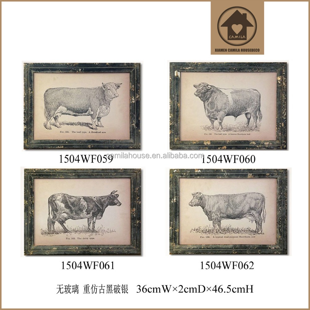 Farmhouse Decor Bull Custom Distressed Wood Picture Frames